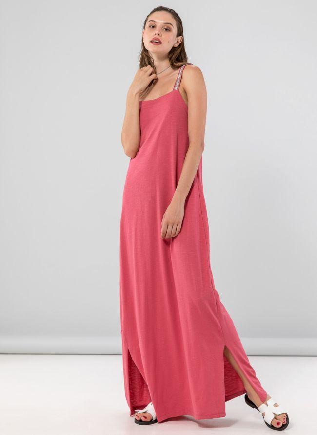 Maxi φόρεμα με boho ραντάκια - Ροδί