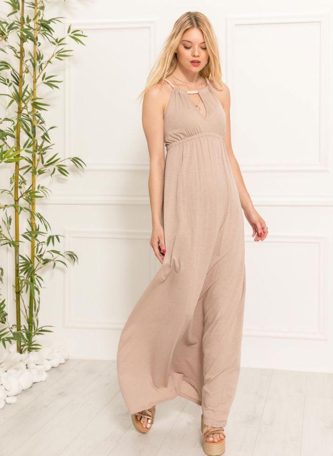 Maxi φόρεμα με δέσιμο - Μπεζ