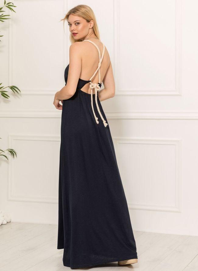Maxi φόρεμα με δέσιμο - Μπλε σκούρο