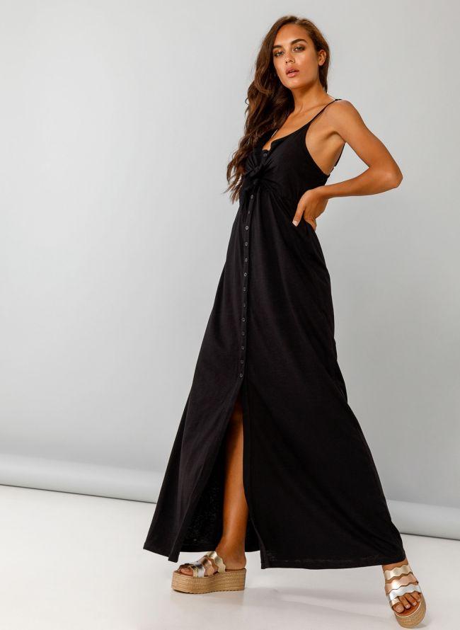 Maxi φόρεμα με δέσιμο στο στήθος - Μαύρο