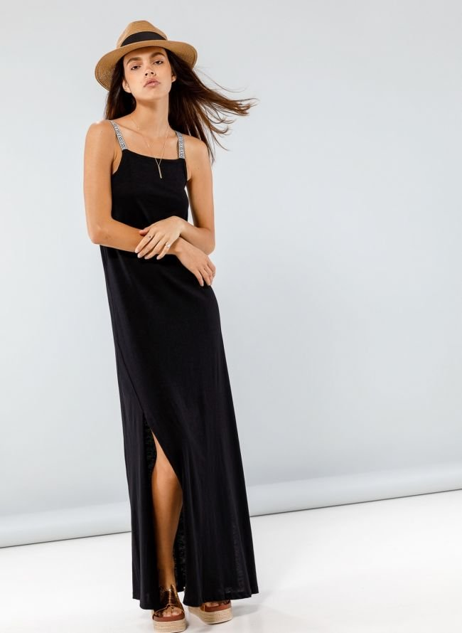 Maxi φόρεμα με ethnic ραντάκια - Μαύρο