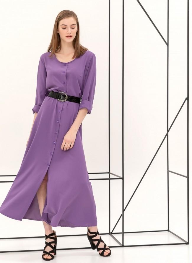 Φόρεμα με πέρλες στο γιακά και τα μανίκια - Πράσινο - TheFashionProject 1bdfc383491