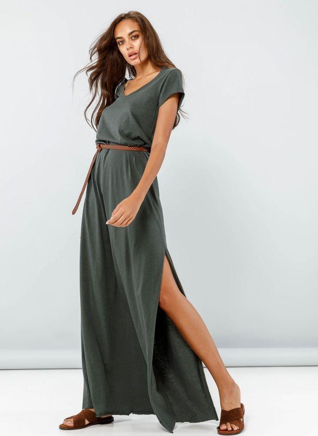 Maxi φόρεμα με λαιμόκοψη  - Χακί
