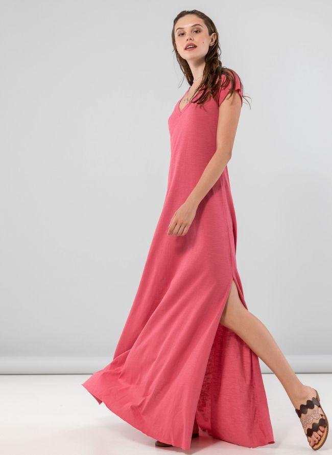Maxi φόρεμα με λαιμόκοψη  - Ροδί