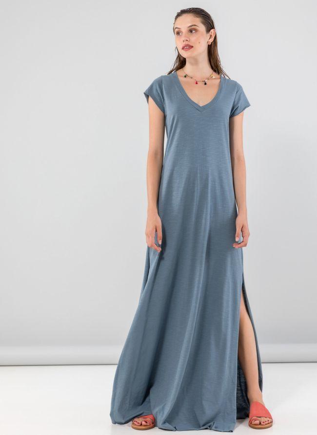 Maxi φόρεμα με λαιμόκοψη  - Petrol