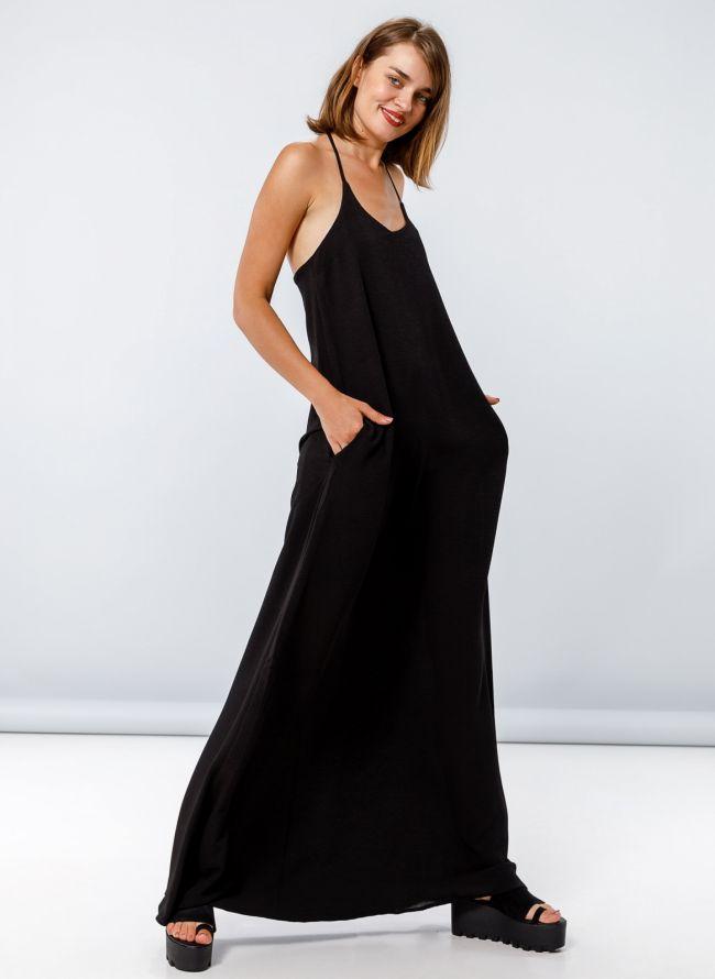 Maxi φόρεμα με λεπτά ραντάκια χιαστί στην πλάτη - Μαύρο