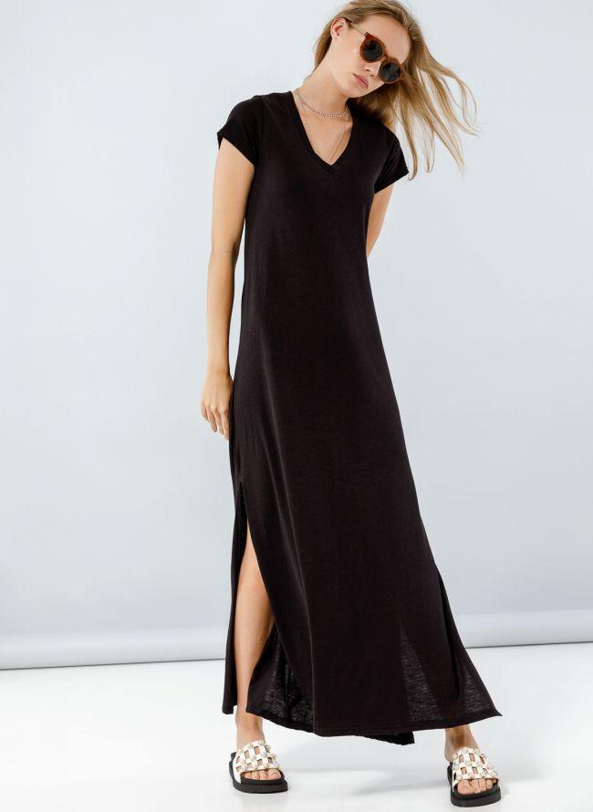 Maxi φόρεμα με μανικάκι - Μαύρο
