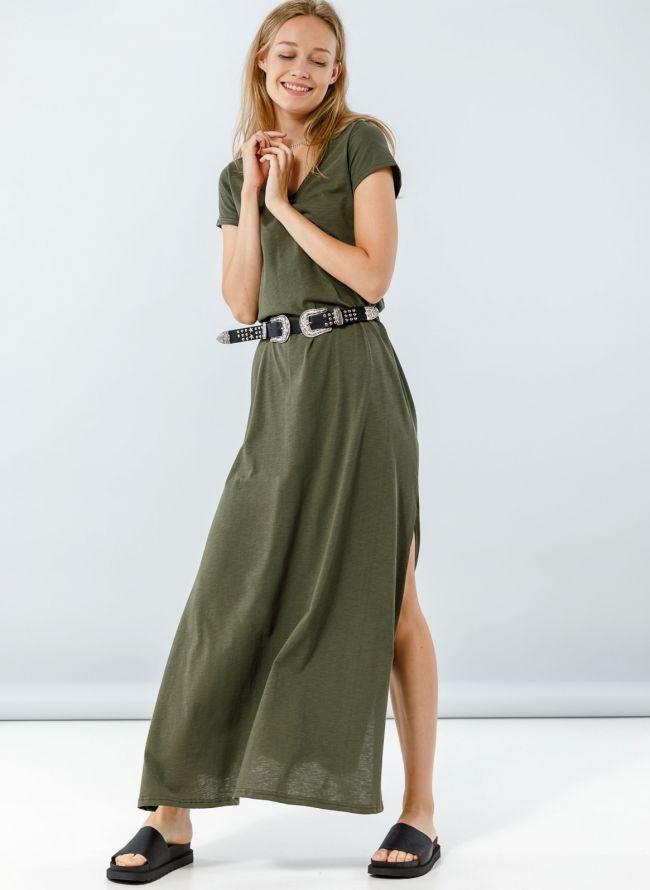Maxi φόρεμα με μανικάκι - Χακί