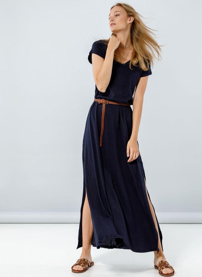 Maxi φόρεμα με μανικάκι - Μπλε σκούρο