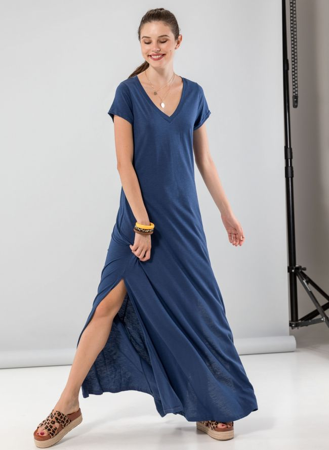 Maxi φόρεμα με μανικάκι - Μπλε