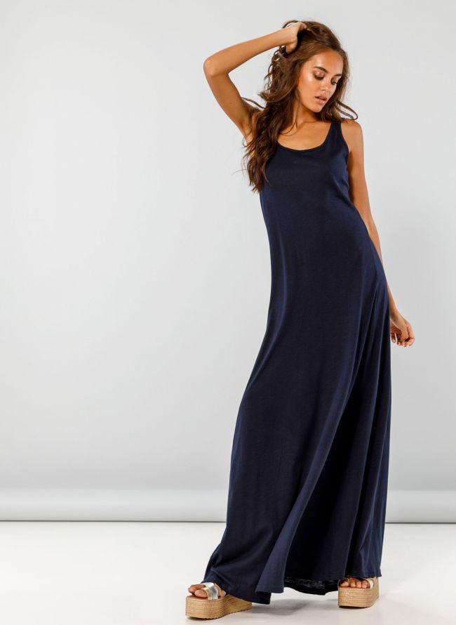 Maxi φόρεμα με πιέτα στην πλάτη - Μπλε σκούρο