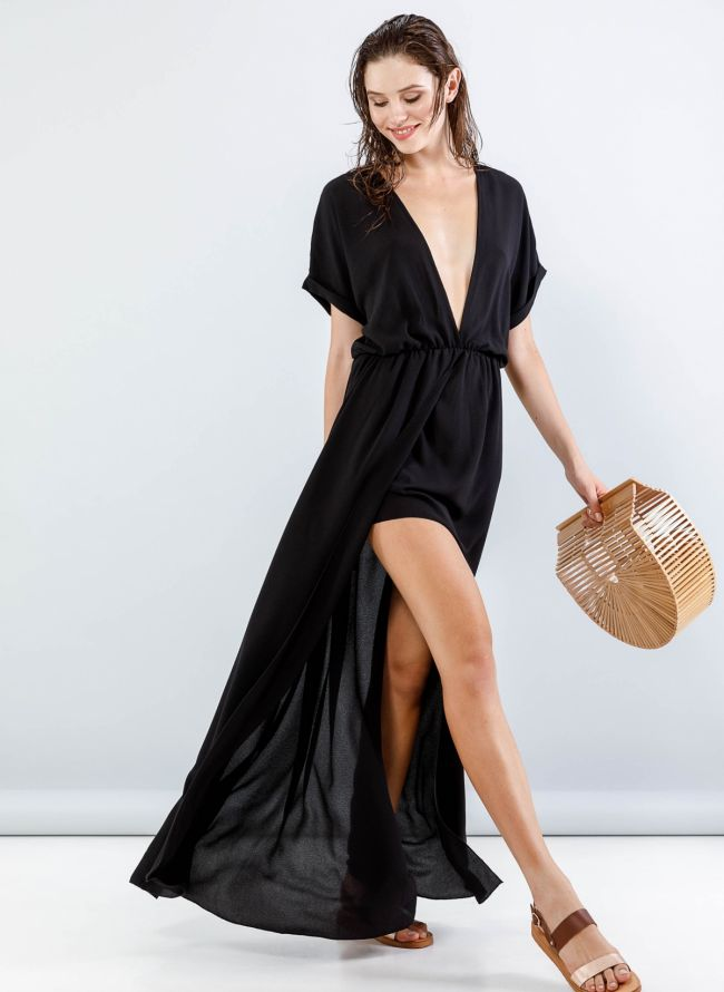 Maxi φόρεμα με βαθύ ντεκολτέ - Μαύρο