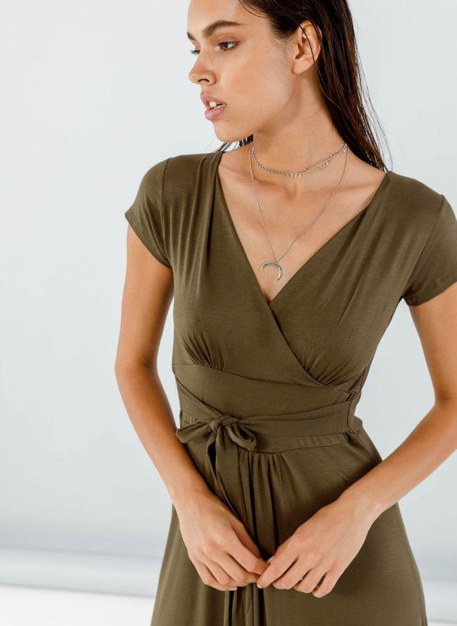 Maxi φόρεμα με ζωνάκι - Χακί