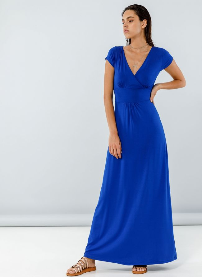 Maxi φόρεμα με ζωνάκι - Ίντιγκο