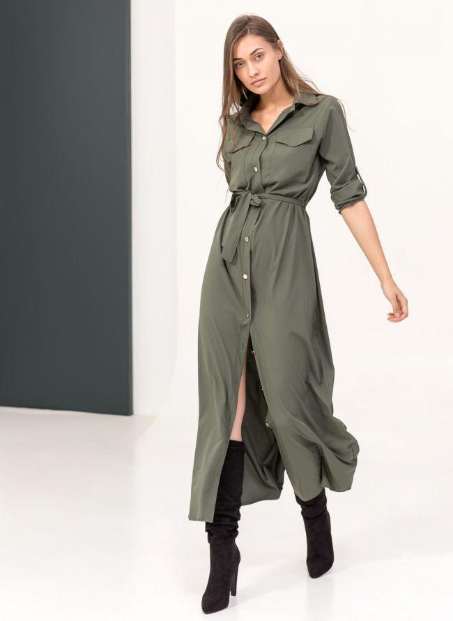 9af9386d056f Maxi φόρεμα πουκάμισο - Χακί - TheFashionProject