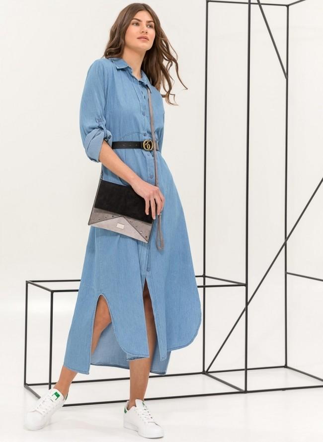 Maxi φόρεμα πουκάμισο με denim όψη - Μπλε jean 5b921b19274