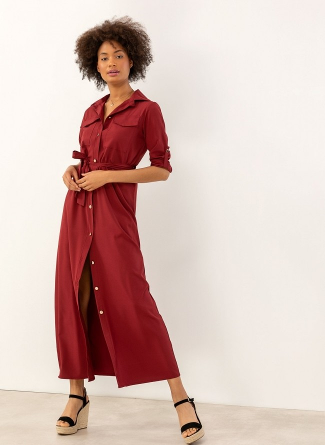 f26cf9f487bf Αμάνικο κρουαζέ φόρεμα με πέτο - Μπορντό - TheFashionProject