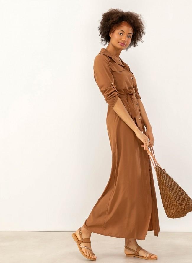 8e3d4982b4ca Maxi φόρεμα πουκάμισο με χρυσά κουμπιά - Καφέ - TheFashionProject