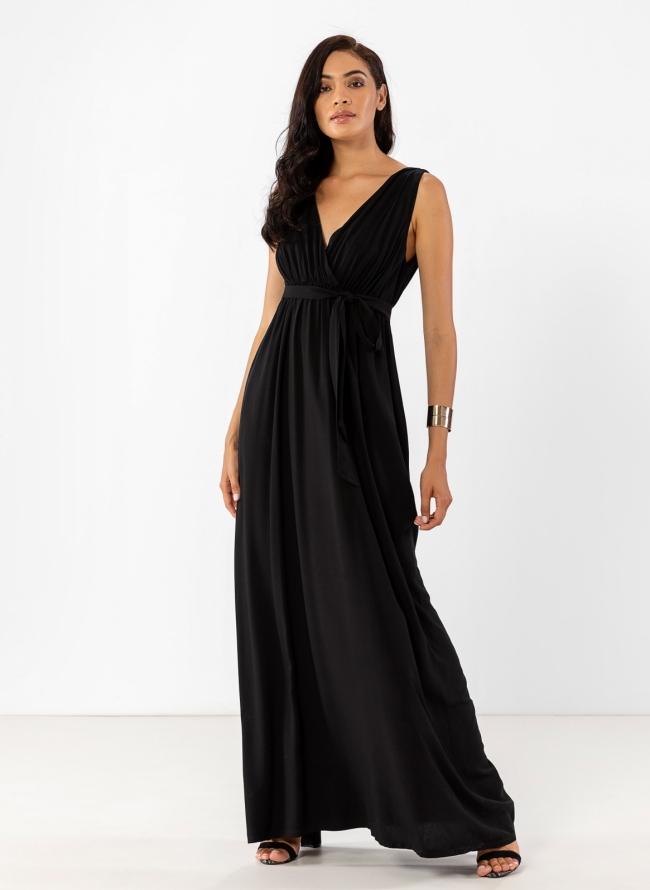 7490405560a Maxi φόρεμα σε αρχαιοελληνικό στυλ 45-116 - Μαύρο