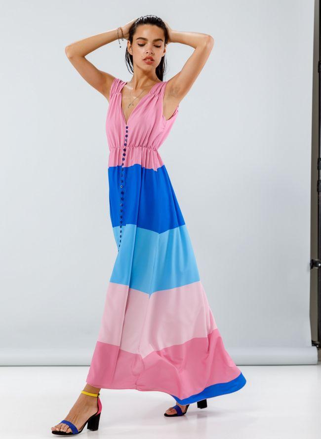 Maxi φόρεμα σε συνδυασμούς χρωμάτων - Ροζ