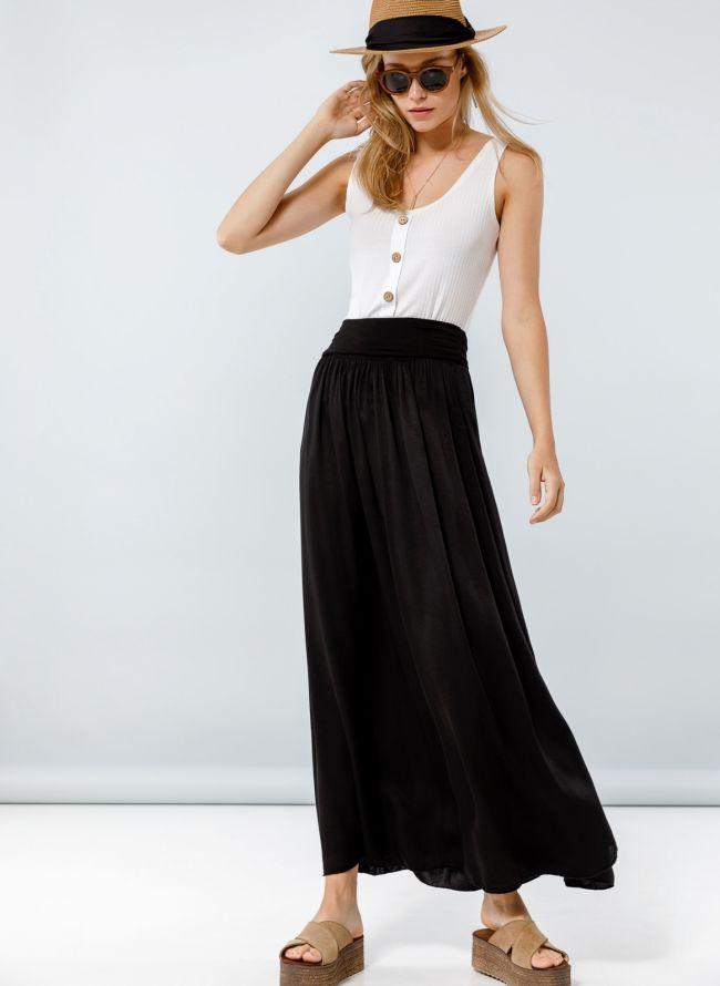 Maxi φούστα με μπάσκα - Μαύρο