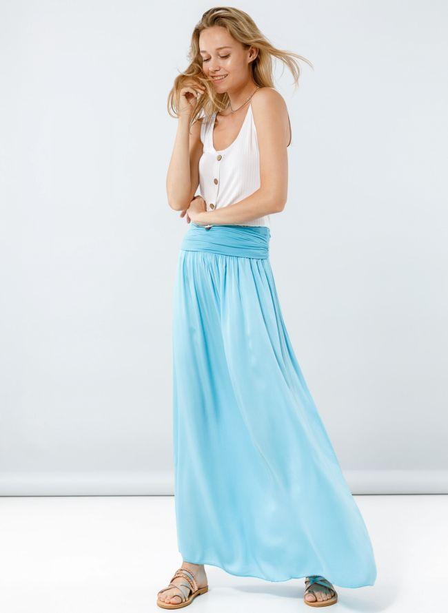 Maxi φούστα με μπάσκα - Γαλάζιο