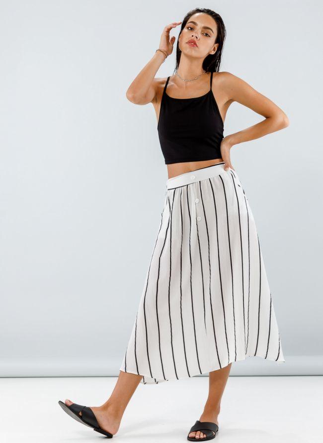 Maxi φούστα με ρίγες και κουμπιά - Λευκό