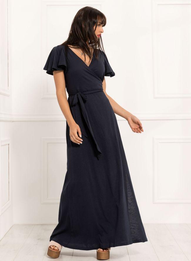 Maxi κρουαζέ φόρεμα - Μπλε σκούρο