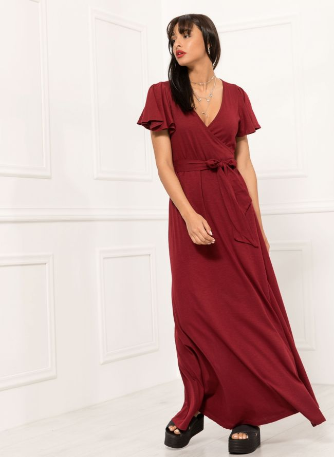 Maxi κρουαζέ φόρεμα - Μπορντό