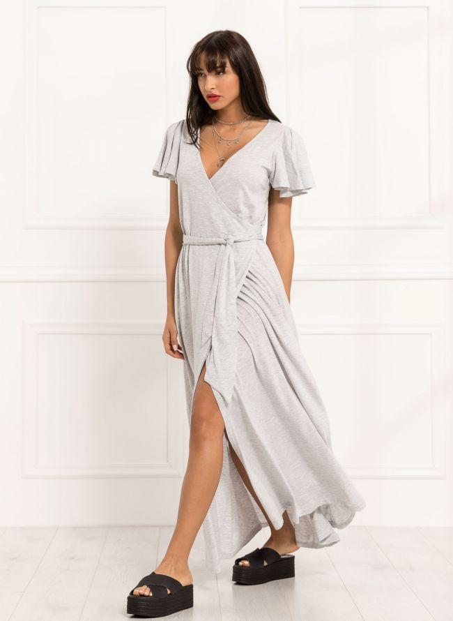 Maxi κρουαζέ φόρεμα - Γκρι