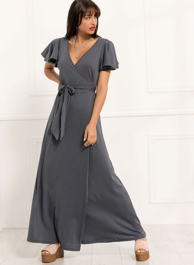 Maxi κρουαζέ φόρεμα - Ανθρακί