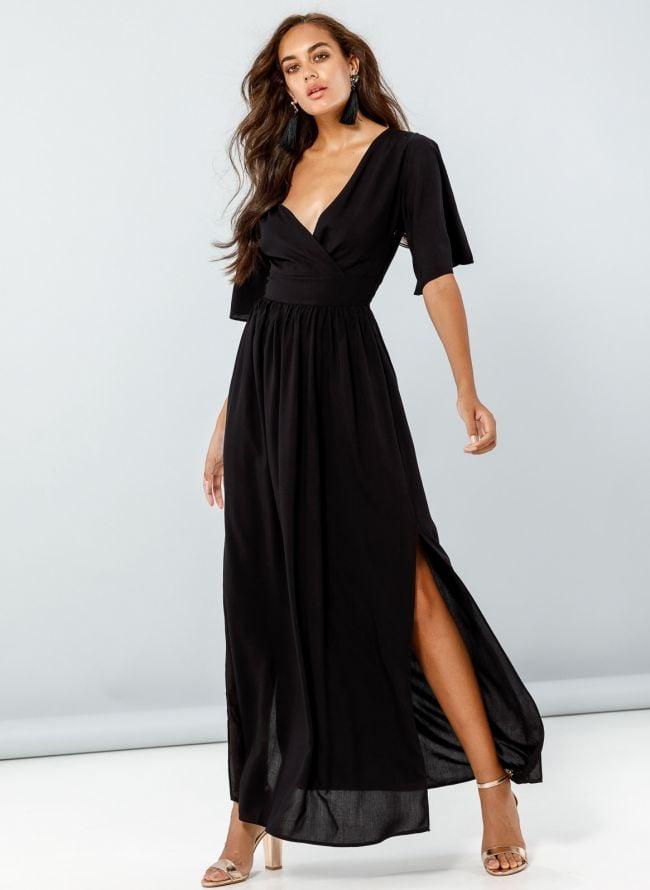 Maxi κρουαζέ φόρεμα  - Μαύρο
