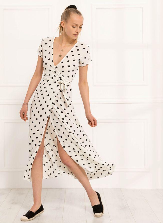 Maxi κρουαζέ πουά φόρεμα - Λευκό
