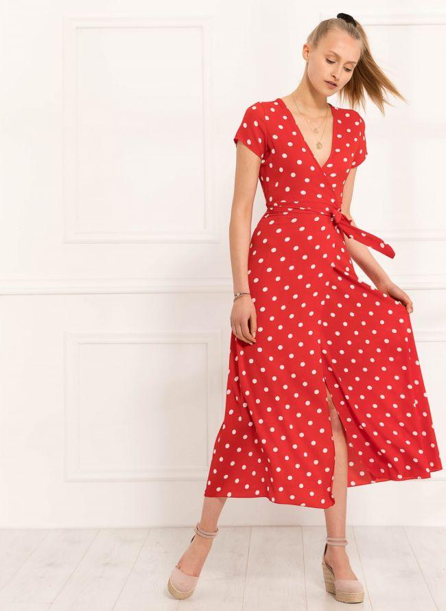 Maxi κρουαζέ πουά φόρεμα - Κόκκινο
