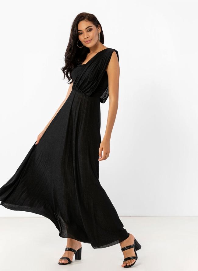 9da0dd0e5bd Maxi lurex φόρεμα με ώμο από τούλι - Μαύρο