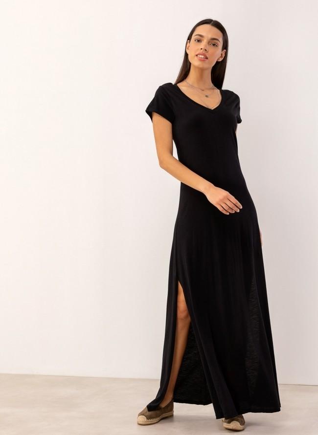 57763c2a2f2e Maxi μακό φόρεμα με ανοίγματα στο πλάι - Μαύρο - TheFashionProject