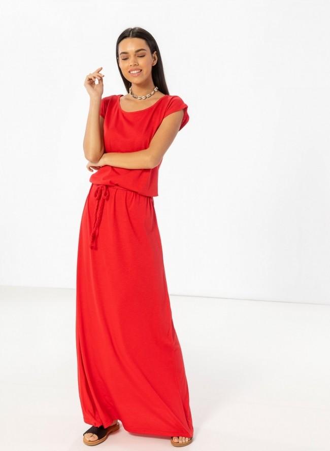 6c08c7a18541 Maxi μακό φόρεμα με ζώνη κοτσιδάκι - Κόκκινο
