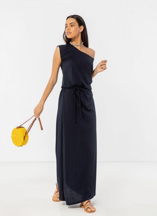 e3cce7efd75 Maxi μακό φόρεμα με ζώνη κοτσιδάκι - Μπλε σκούρο