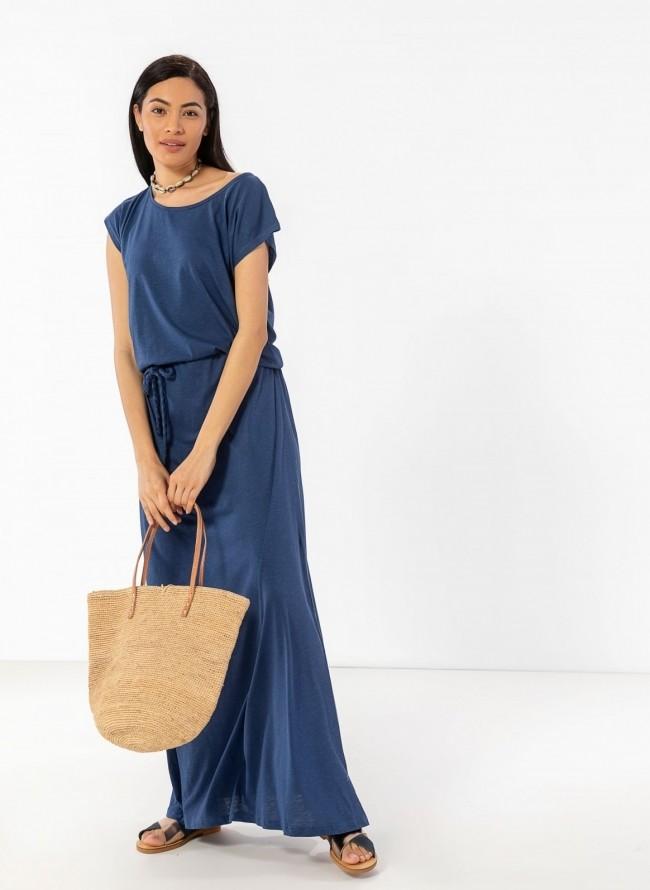 ca4588caafa7 Maxi μακό φόρεμα με ζώνη κοτσιδάκι - Μπλε