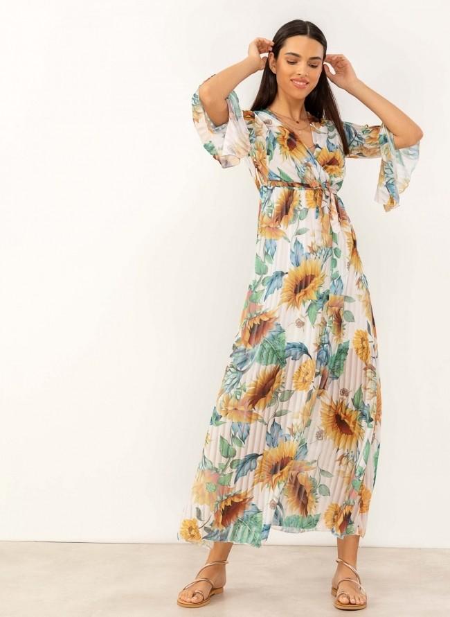 3d7713173ac3 Maxi πλισέ φόρεμα με λουλούδια - Λευκό