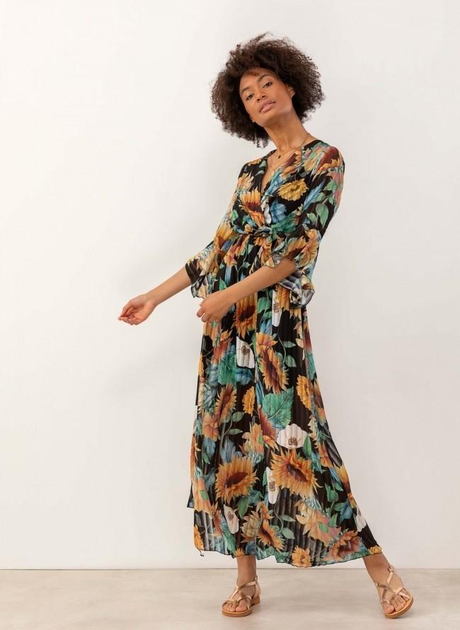 0390c0933088 Maxi πλισέ φόρεμα με λουλούδια - Μαύρο