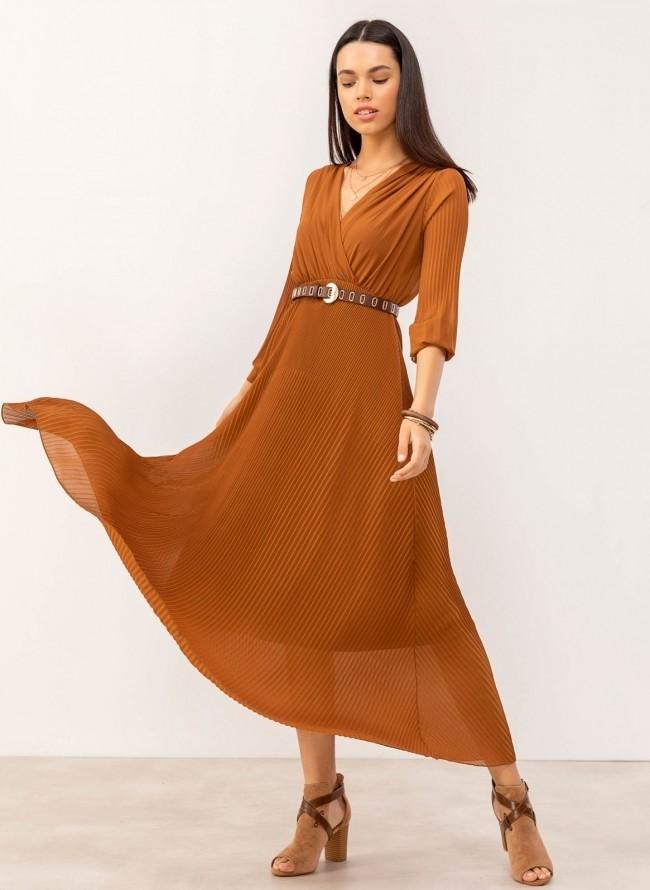 961ee991710e Maxi πλισέ κρουαζέ φόρεμα - Κανέλα
