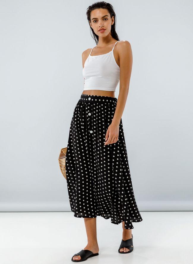 Maxi πουά φούστα με σχέδιο κουμπιά - Μαύρο