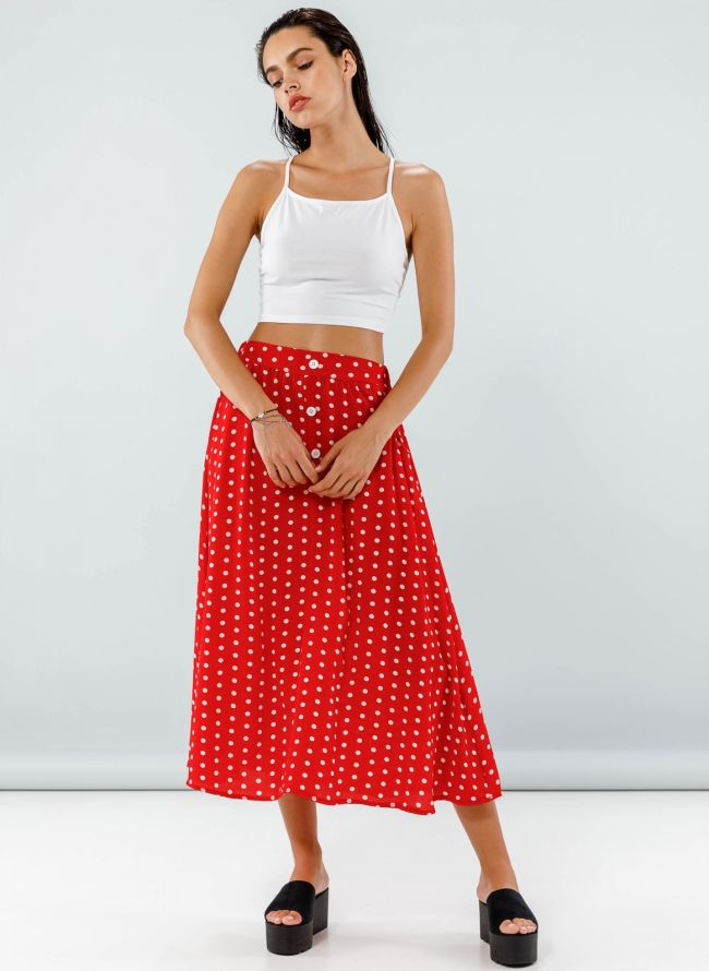 Maxi πουά φούστα με σχέδιο κουμπιά - Κόκκινο