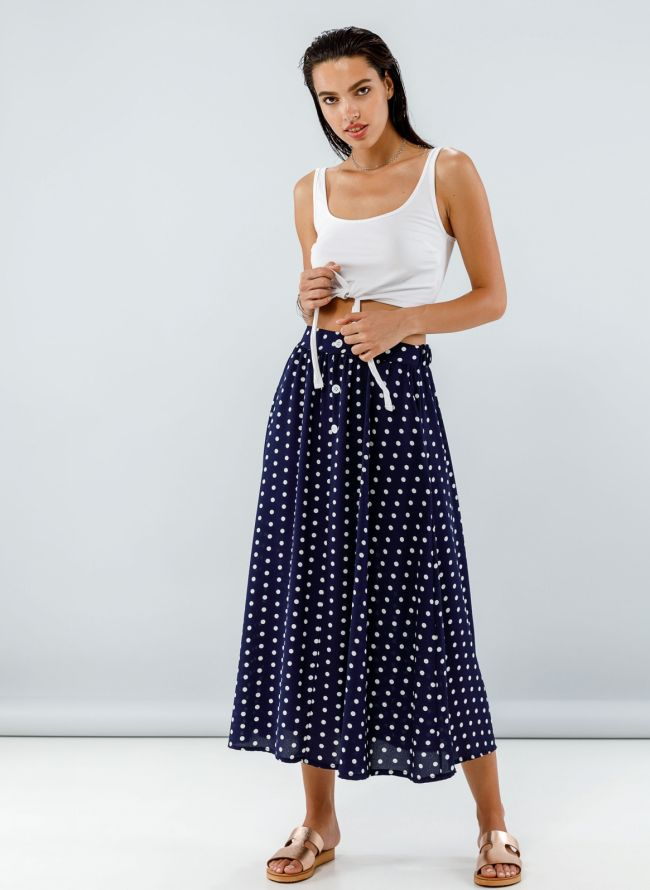 Maxi πουά φούστα με σχέδιο κουμπιά - Μπλε σκούρο