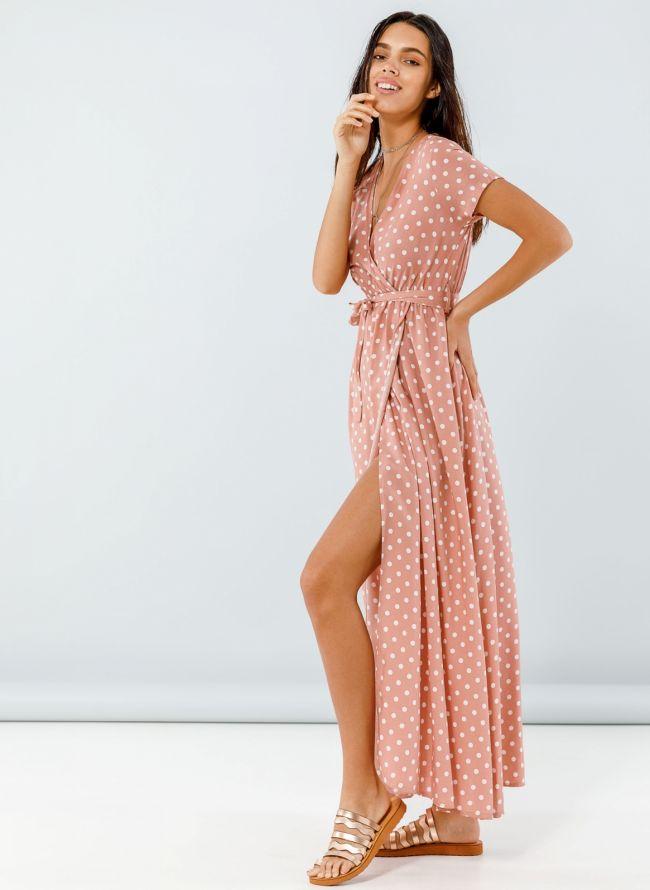 Maxi πουά κρουαζέ φόρεμα - Nude