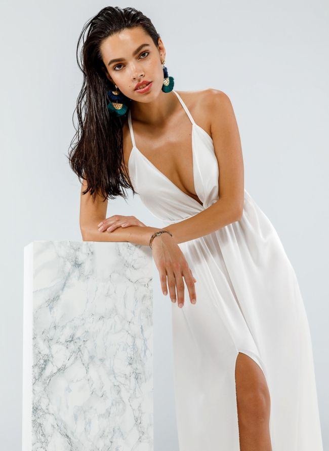 Maxi σατέν φόρεμα με δέσιμο - Λευκό