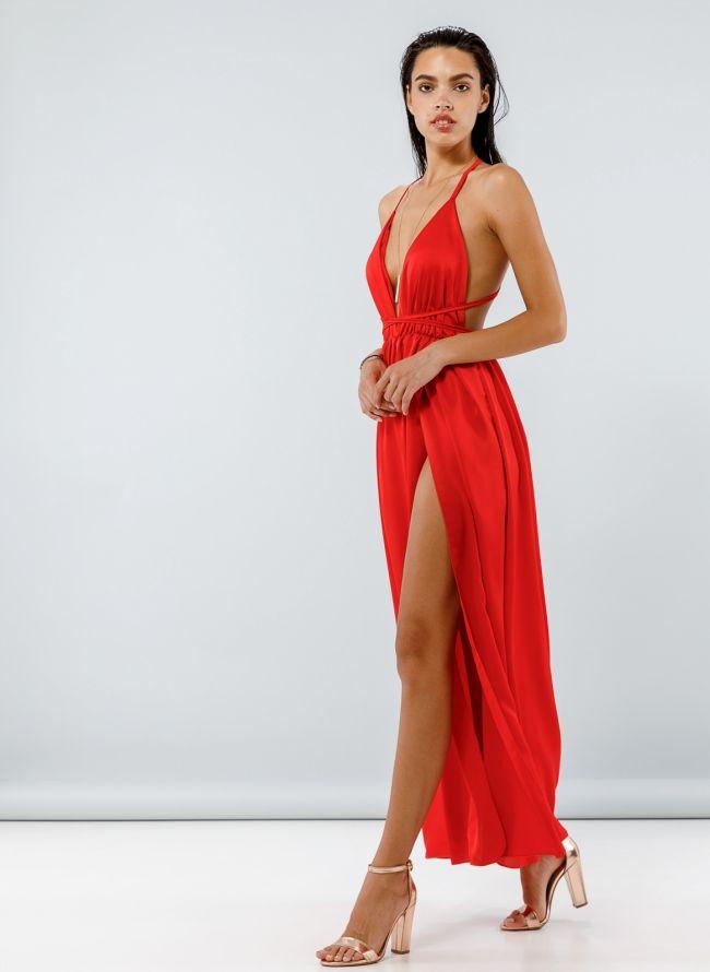 Maxi σατέν φόρεμα με δέσιμο - Κόκκινο