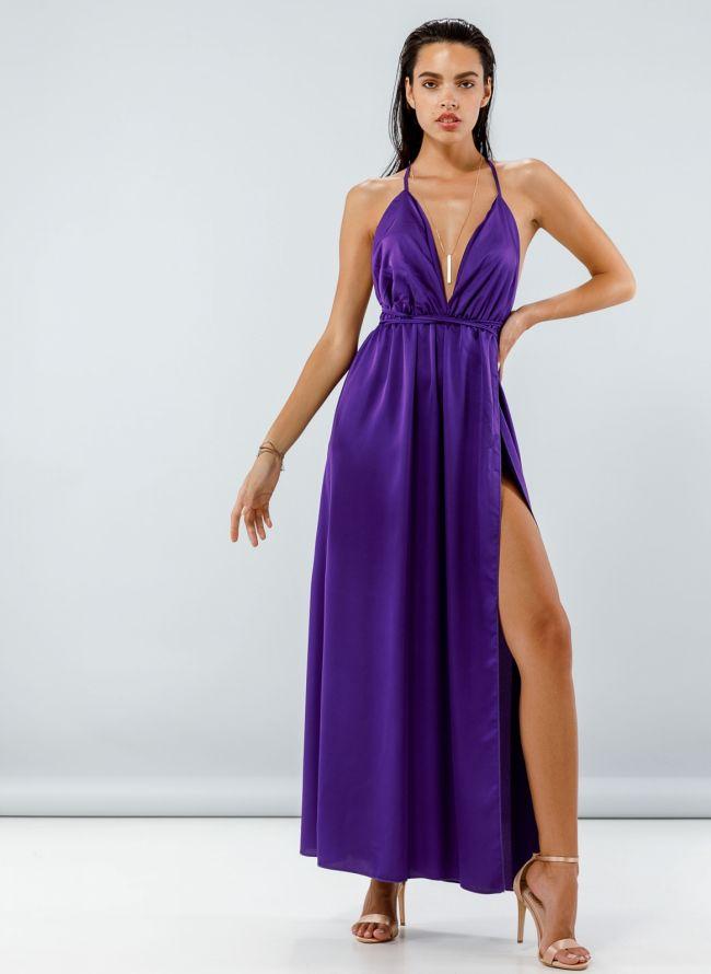 Maxi σατέν φόρεμα με δέσιμο - Μωβ