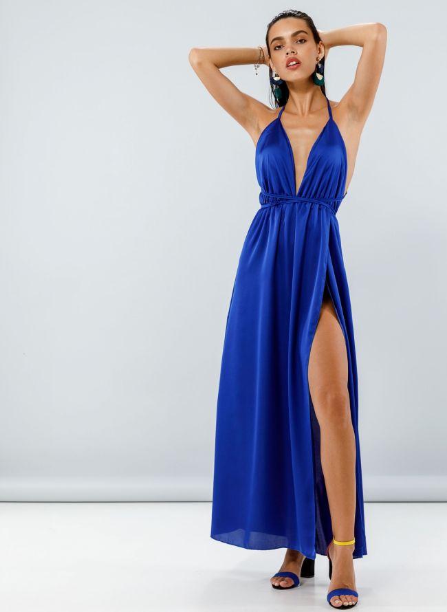 Maxi σατέν φόρεμα με δέσιμο - Μπλε